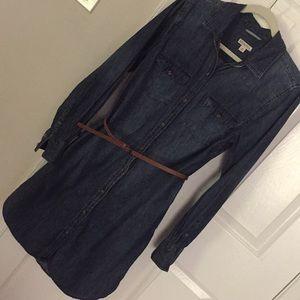 Merona Denim belted shirtdress with pockets